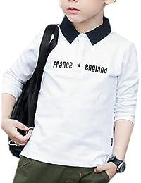 ININUK ボーイズ 男の子 コットン 長袖 ポロシャツ 襟付き tシャツ ファション 薄手 子供服 スクール 無地 トップス 通園 通学 夏もの 春物 カジュアル 着心地がいい