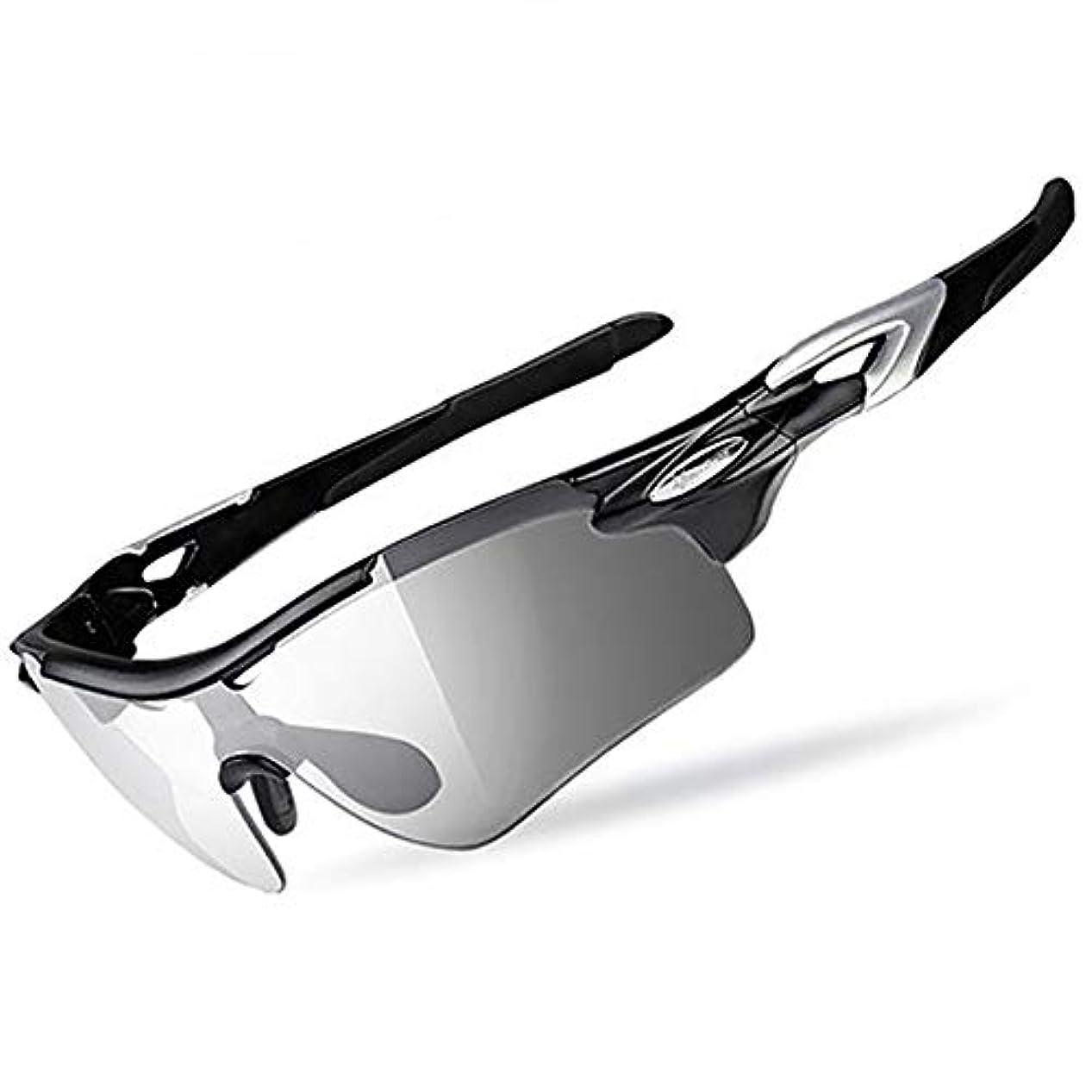 スピーカーイサカ将来のROCKBROS(ロックブロス)調光サングラス 偏光レンズ 自転車 ハーフフレーム式 釣り メガネ 超軽量 紫外線カット 収納ポーチ付き ユニセックス