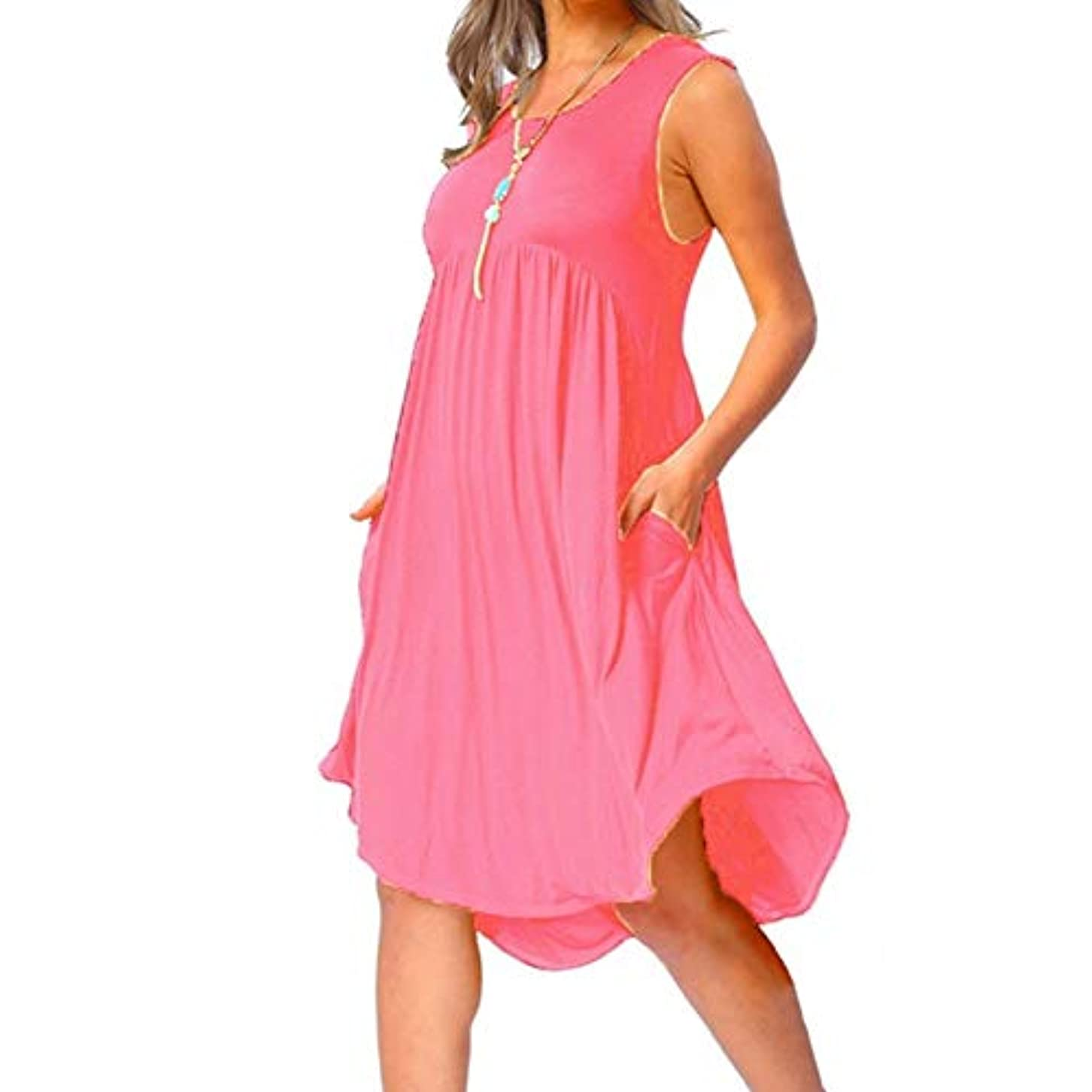 未接続警戒そうでなければMIFAN の女性のドレスカジュアルな不規則なドレスルースサマービーチTシャツドレス