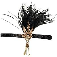 FENICAL 魅力的なヘッドバンド毛のフープ花嫁の花嫁介添人の子供のためのシンプルな羽毛の花輪のウェディングヘッドドレス(ブラック)