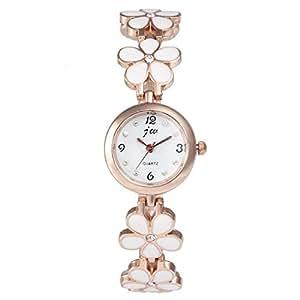 ブレスレット風フラワー腕時計・Watch レディース腕時計 (ホワイト)