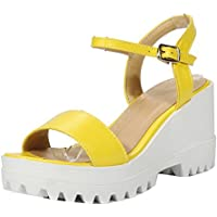 VogueZone009 Women's Buckle PU Open-Toe High-Heels Solid Sandals
