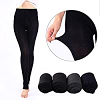 ZITA ELEMENT Women's Fleece Lined Thermal Leggings Knitted Patterned Tights Warm Pants Stretchy Pantyhose