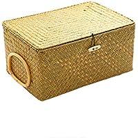 海草織物収納バスケット(蓋付き)、ポータブル収納ボックス、書籍や文房具、子供用おもちゃ、内装服、その他の雑貨