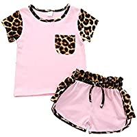 Ritatte 2 Pcs Fashion Toddler Kids Baby Girls Velvet Clothes Outfit Pant Set Fall Winter (Short Pink, Size:100(2-3T))