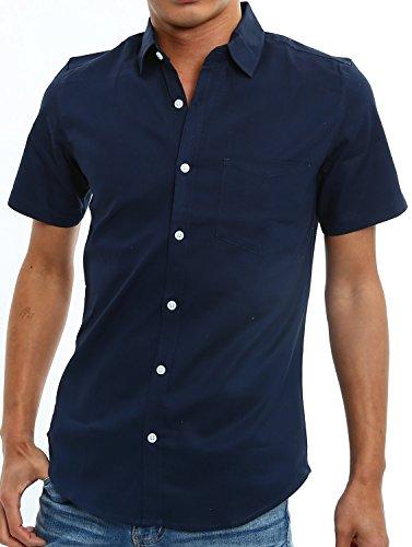 インプローブス 半袖 シャツ オックスフォード スリムシャツ ストレッチシャツ メンズ ネイビー S サイズ