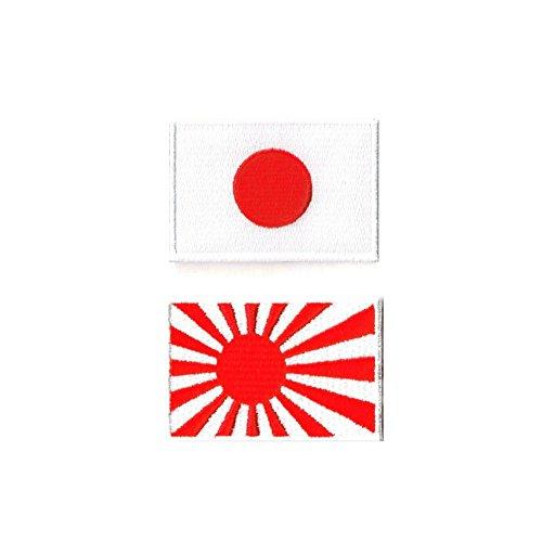 日本国旗ワッペン 日の丸+海軍旗 2S 2枚セット...
