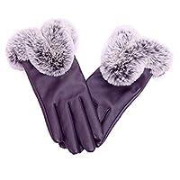 973b1d22c21abd Huiertongja 手袋 レディース スマホ手袋 グローブ 裏起毛 保温 暖かい ファー付き PUレザー タッチパネル対応