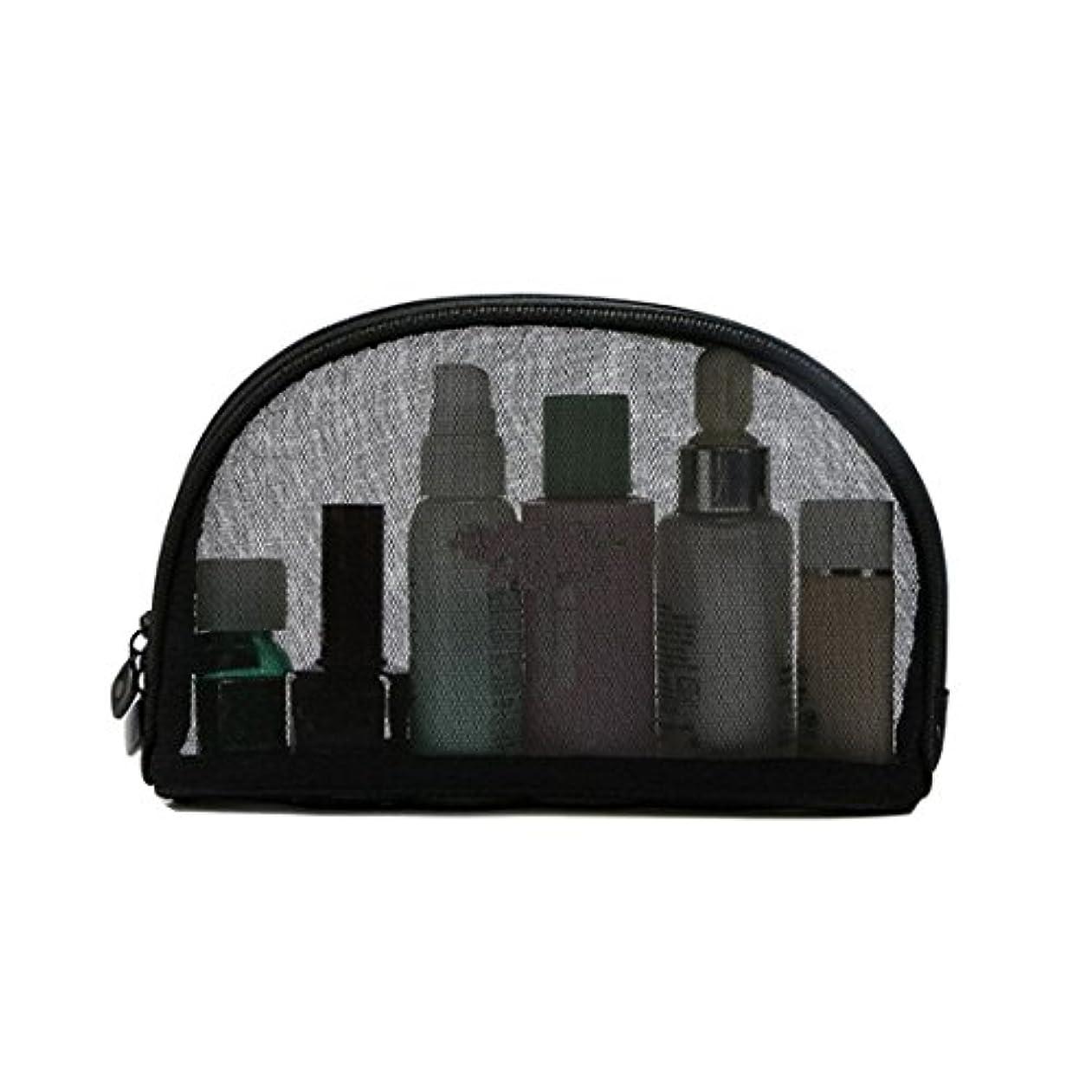 Pinji 化粧ポーチ 化粧バッグ 透明 ブラック メッシュポーチ トラベルポーチ 旅行ポーチ メイクアップバッグ ネット ポーチ レディース メンズ 小物入れ 洗面用具入れ