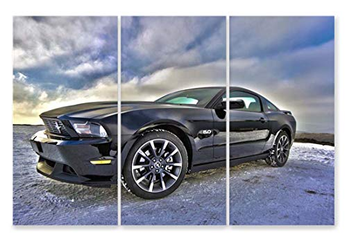 自動車 写真 40x80cm 3枚 絵画 マスタング車 ポスター キャンバスプリント アートパネル インテリア モダン 120X80 cm 木枠なし 壁飾り