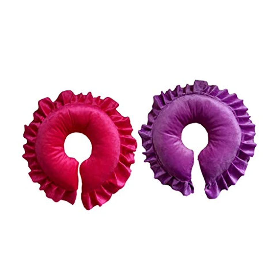 アリーナバスケットボール温室chiwanji フェイスピロー マッサージ枕 クッション サロン スパ 快適 実用的 紫&赤 2個入り