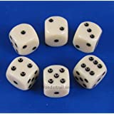 Ivory Opaque Dice Black Pips D6 16mm Pack of 6 Wondertrail WCX25600E6