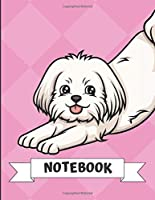 Notebook: Stretching White Maltese Dog Cartoon on a Pink Diamond Background. Book is Filled with Lined Journal Paper for Notes and Creating Writing.