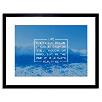 Motivational Quote Life Ocean Nautical Sea Framed Wall Art Print