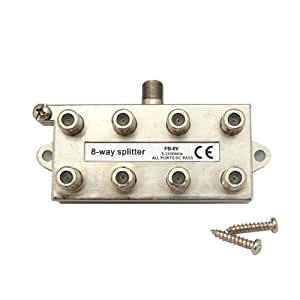 デジタル放送対応 アンテナ8分配器 全端子電通型 地上・BS・CS対応