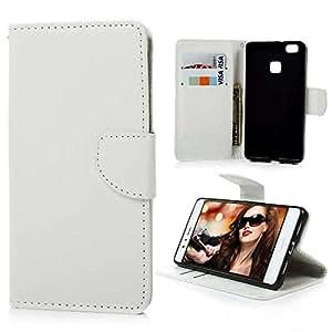 YOKIRIN® Huawei P9lite対応ケース 絵なし 馬紋 手帳型 二つ折り 横開き PUレザー カード収納 スタンド機能 マグネット式 防塵 保護 ホワイト