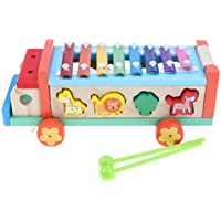 B Baosity 子供 3イン1 木製 引っ張り車 ピアノ 動物マッチングゲーム モンテッソーリおもちゃ