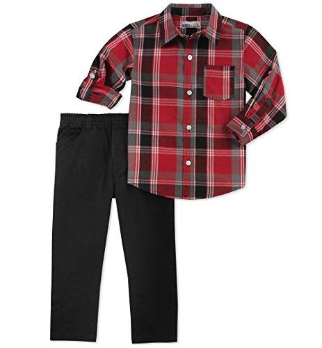 Kids Headquarters Baby Boy's 2 Pieces Shirt Pant Set Pants, red/Black, 12M
