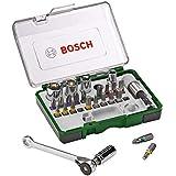 Bosch 27-Piece Screwdriver Bit and Ratchet Set with Colour Coding