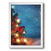 King Duck 景色 クリスマスツリー 絵画 インテリア フレーム装飾画 アートポスター 壁画 アートパネル 壁掛け 木枠付き White