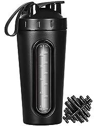 MX プロテインシェイカーボトル ステンレススチール スポーツウォーターボトル シェーカーカップ 目に見える窓 漏れ防止 28オンス BPAフリー