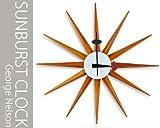 ジョージネルソン サンバースト クロック GeorgeNelson  壁掛け時計 ビンテージ風ブラウン 北欧