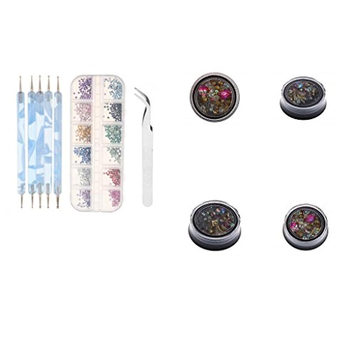 二度誇張する首CUTICATE 混合色のラインストーン付きの5本のネイルアート点描ペイントブラシペンキラキラのヒント