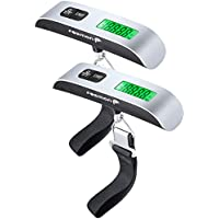 Digital Luggage Scale (2 Pack), Fosmon Digital LCD Display Backlight with Temperature Sensor Hanging Luggage Weight Scale, Up to 110LB (50 kg) with Tare Function