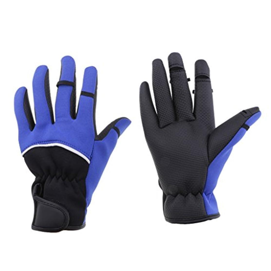 ルート破裂生き残りますFenteer 自転車 乗馬 釣り手袋 グローブ 保暖 防寒 滑り止め 手保護 指3本出す 軽量 折りたたみ可能 フィット感