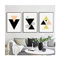 三角形幾何学ヨーロッパスタイルのシンプルな防水フェード耐性絵画の背景正方形の装飾画像アートプリント壁3枚,50*70CM