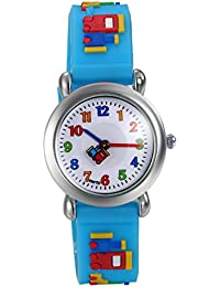 Lancardo 子供 腕時計 幼児 ガールズ/ボーイズ対応 カラー数字 アナデジ表示 積み木 知育 キッズ クオーツ腕時計 (ブルー)