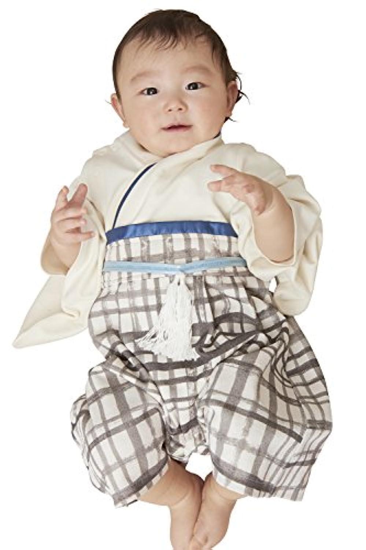Sweet Mommy 袴 ロンパース ベビー 着物 カバーオール 日本製和柄ちりめん コットン身頃 チェックホワイト 50-70