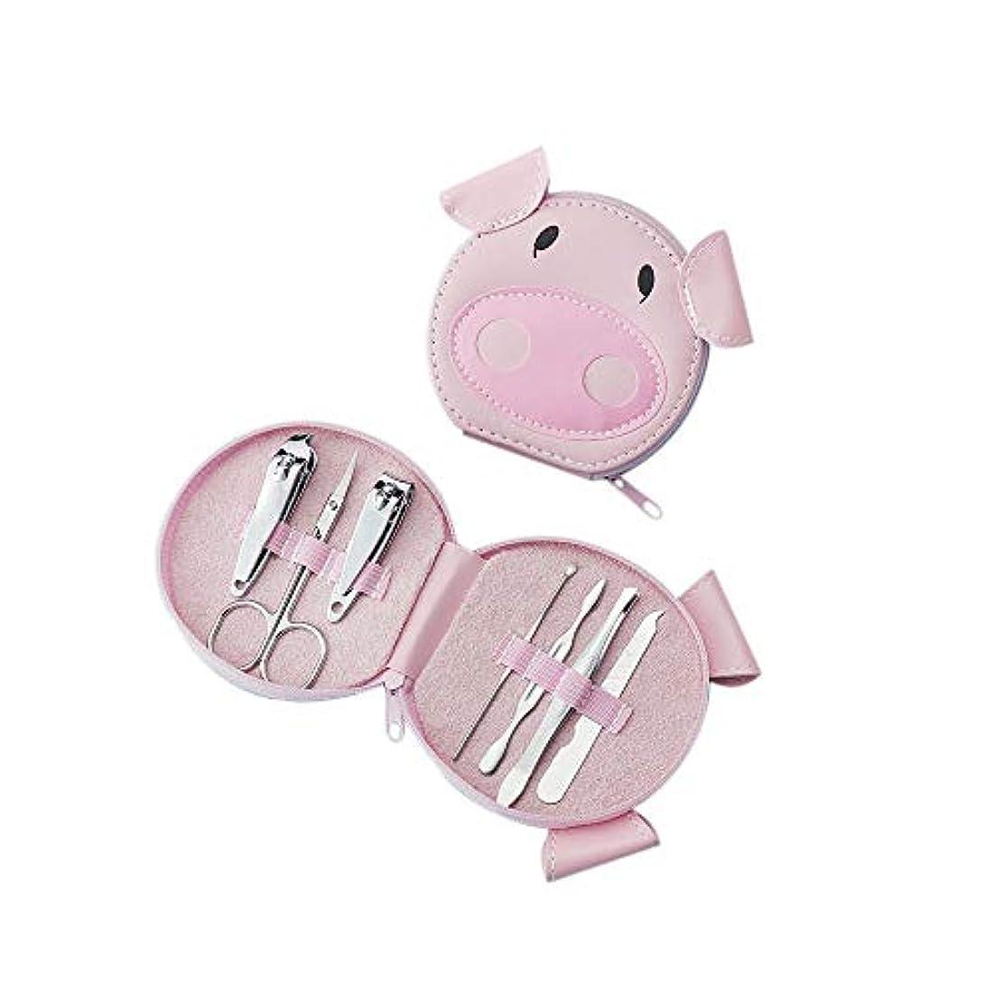 大いに幸運な納得させるファッション爪切りセット漫画の豚ポータブルマニキュアメイクトリミングツールセット、7点セット