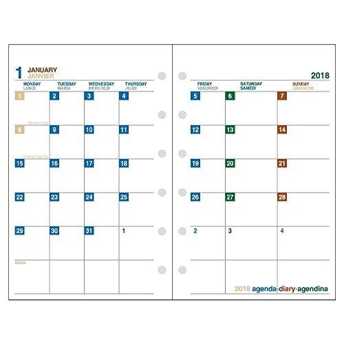 エトランジェディコスタリカ システム手帳 リフィル 2018年 12月始まり マンスリー ミニ6 白 SREF-M-01