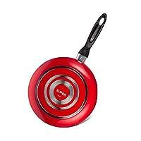 XIAOXIAN フライパンパンケーキ揚げ卵鍋揚げステーキ鍋ノンスティックフライパン直径9.5インチ(24CM) (Color : Red)