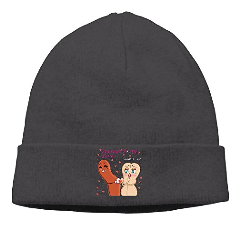 Sunshine SUNシャイン 大人 1ソーセージパーティー アニメ ロゴ ヘッジキャップ ニット帽子 フィットネス 通気性良好 Black