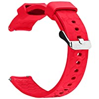 ECSEM 20mm width Replacement Silicone Bands Straps Wristband Compatible for Pebble Time Round 20mm Smartwatch, 1pc Red
