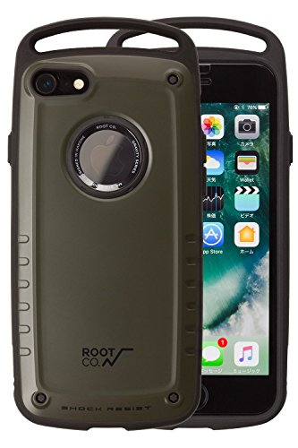 【ROOT CO.】Gravity Shock Resist Case Pro.【耐衝撃 衝撃吸収 iPhone7ケース 米軍MIL規格取得】ストラップ / カラビナ取り付け可 ルートコー アイフォン7 【カーキ/マット】