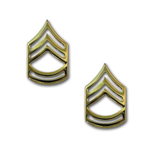 アメリカ陸軍 下士官 階級章 - 1等軍曹 襟章 サービスドレス用 米軍 ミリタリーバッジ 2個セット