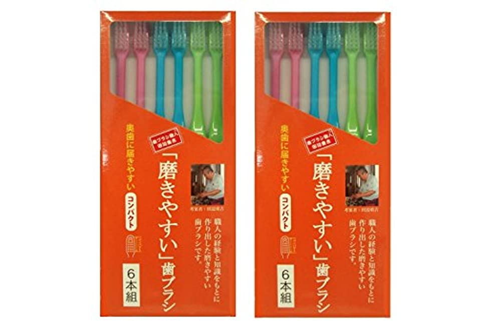 お勧め組み合わせ寺院磨きやすい歯ブラシ 6本組 コンパクトタイプ×2個セット