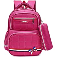 ZHANGYOUDE Lovely Double Shoulders School Bag Backpackage Bag with Pen Bag (Blue Pink) (Color : Rose Red)