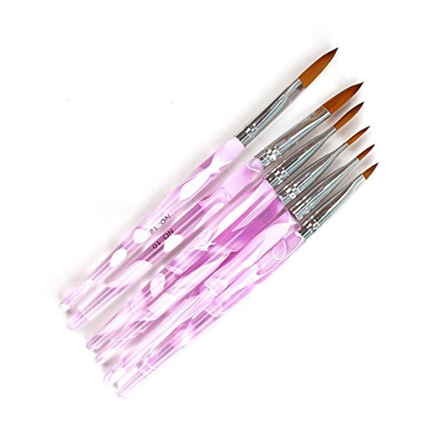 Yiteng ネイルブラシ ジェルネイル ネイル スカルプ ピンク キャップ付き ネイルアート専用ブラシ×6本セット