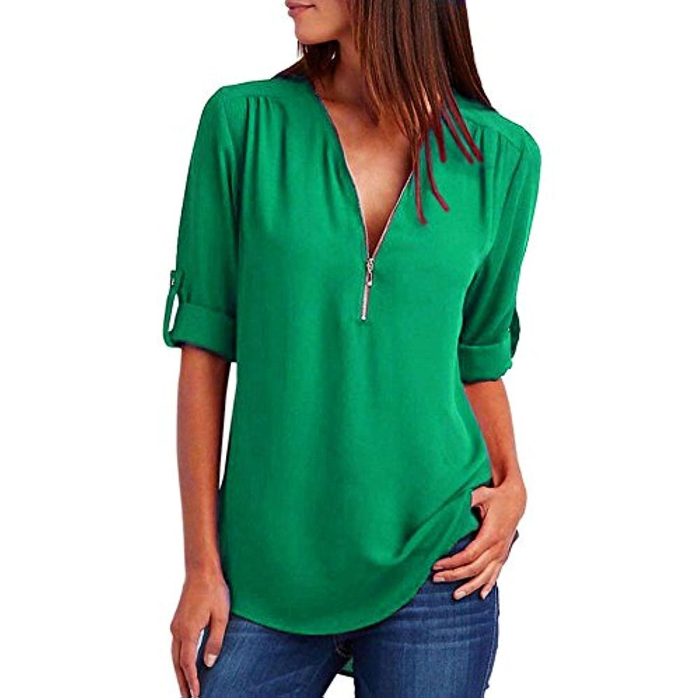 脅迫最少無人2018人気 Tシャツ レディース トップス Timsa 春夏の新番 長袖Tシャツ Vネック ジップアップ T-shirt ブラウス シフォンシャツ ティーシャツ 女性 カットソー 上着 通勤 通学 旅行 日常 プレゼント コーディネート用