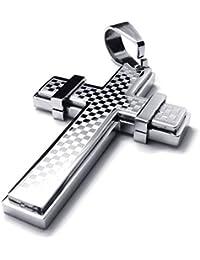 [テメゴ ジュエリー]TEMEGO Jewelry メンズステンレススチールヴィンテージペンダントゴシッククロスネックレス、シルバー[インポート]