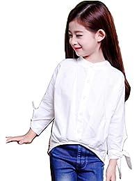 ALKAQ シャツ 女の子 長袖 子供服 ワイシャツ ガールズ ブラウス 発表会 卒業式 入学式 トップス フォーマル 110-160CM