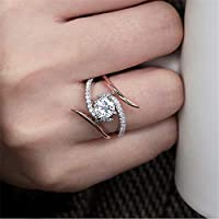 Ranipobo Copper Plated Zircon Ring Celebrity Style Wrap Layering Stackable Wedding Gift