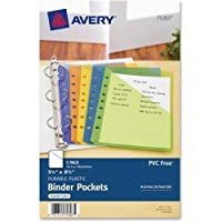 "Avery Mini Binder Pocket - 20 Sheet Capacity - 5.50"" x 8.50"" - Rectangular - Polypropylene - 5 / Pack - Blue, Green, Orange, Yellow, Purple [並行輸入品]"