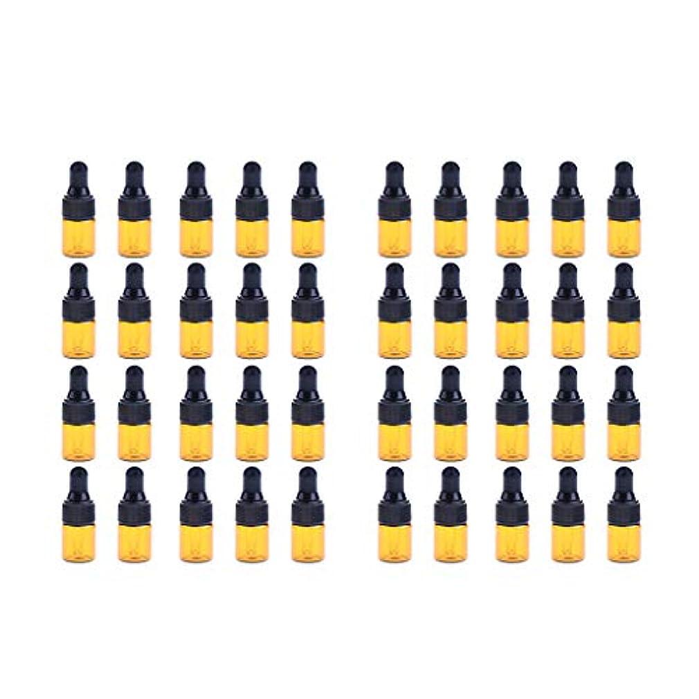 誰も所持いろいろFenteer ドロッパーボトル 精油 ミニサイズ 詰め替え可 ガラス スポイトボトル 1ml /2ml 40個入