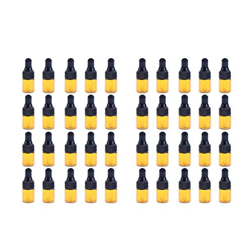 刑務所細部蛾Fenteer ドロッパーボトル 精油 ミニサイズ 詰め替え可 ガラス スポイトボトル 1ml /2ml 40個入