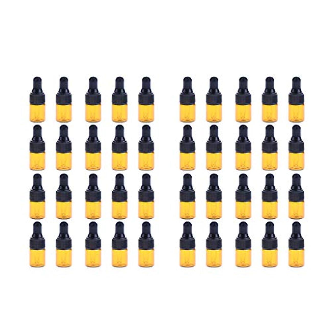 元に戻すワーディアンケース知覚的Fenteer ドロッパーボトル 精油 ミニサイズ 詰め替え可 ガラス スポイトボトル 1ml /2ml 40個入